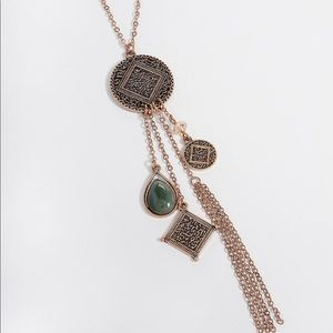 Maurices Green Stone Cluster Necklace